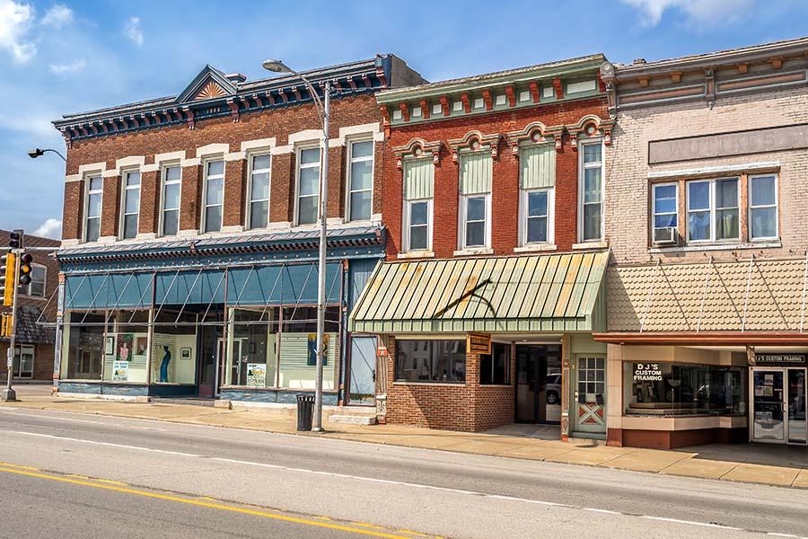 Johnsonburg PA - Small Town Main Street In Johnsonburg Pennsylvania
